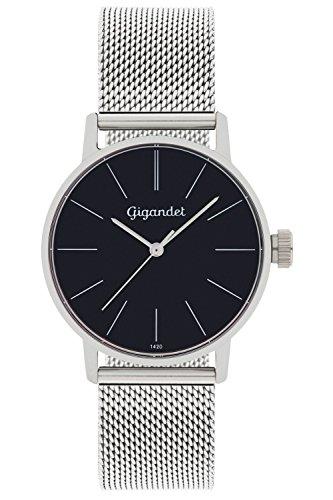 Gigandet Women's Quartz Watch Minimalism Analog Stainless Steel Bracelet Silver Black G43-006