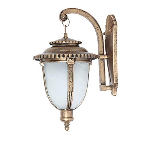 ROLLWER One-Light Outdoor Wall Lantern with Curved Beveled Glass Lampshade, Polished Brass Finish for Balcony, Living Room, Gate, Garden and - Garden Courtyard Gate