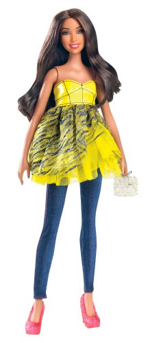 Barbie All Dolled Up STARDOLL Brunette Doll Yellow Top Pink Shoes - Mix and Match Trendy, Original Fashions and Accessories -
