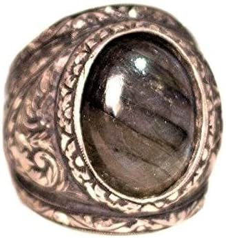 Free Express Shipping Steel Pen Craft Falcon Jewelry 925 Sterling Silver Men Ring Labradorite Natural Gemstone