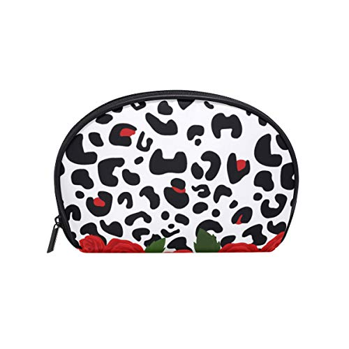 Makeup Cosmetic Bag Abstract Zebra Leopard Skin Flower Rose Pouch -
