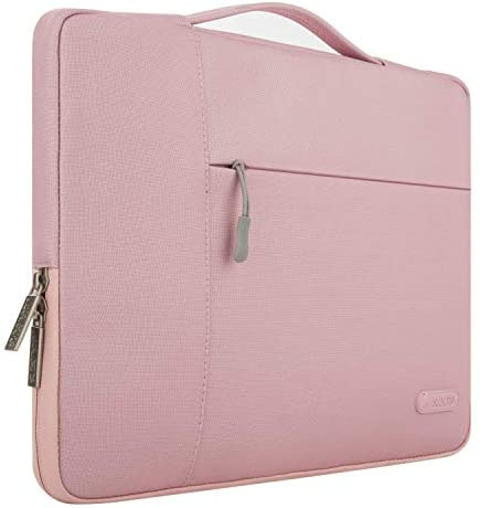 MOSISO Laptop Briefcase Polyester Multifunctional Sleeve Handbag Carrying Case Bag, Pink