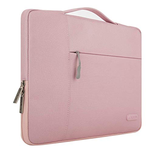 MOSISO Laptop Sleeve Briefcase Handbag Compatible 15-15.6 Inch MacBook Pro, Notebook Computer, Polyester Multifunctional Carrying Case Protective Bag Cover, Pink