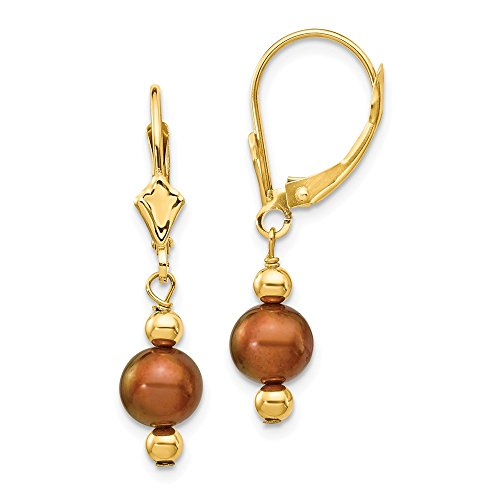 Fw Pearl Brown Gold (14K Yellow Gold 5-6mm Semi-round Coffee Brown FW Cultured Pearl Leverback Earrings)