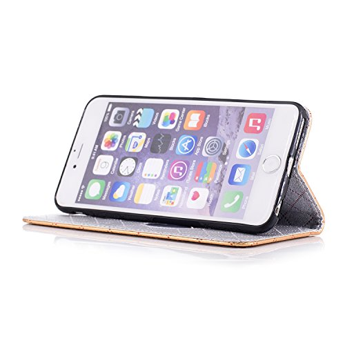 iPhone 6 Plus Hülle, ANNNWZZD Retro diamantförmiges Gitter und Liebeswölbungsentwurf PU Leder Wallet Magnet Silikon Back Cover Etui Skin Shell Magnetverschluss Standfunktion Handytasche Slim-Schutzhül
