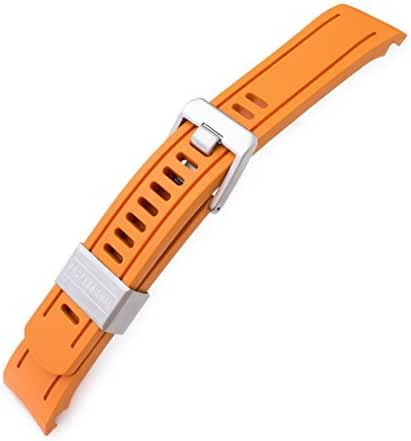 22mm Crafter Blue - Orange Rubber Curved Lug Watch Band for Seiko SKX007