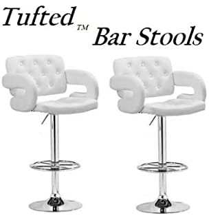 tufted synthetic leather adjustable bar stool set of 2 white - White Leather Bar Stools