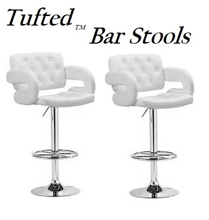 South Mission Tufted Adjustable Swivel Bar Stool with Armrests, White Leatherette, Set of 2