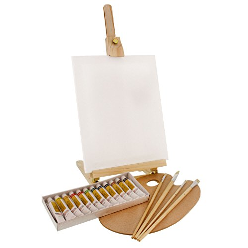 US Art Supply Wood Studio Table Easel & Paint Box Set with 12 Paint Colors, Canvas Panels, Brushes, Plastic Palette (Oil Paint Kit)