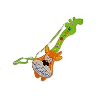 Upstudio Guitarra Eléctrica de Dibujos Animados de Música Ligera Multifuncional (Modelos de Ciervos Naranja): Amazon.es: Juguetes y juegos