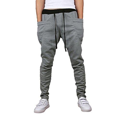 SODIAL(R) Casual Hommes Jogging Danse V¨ºtements de sport Pantalon Bouffant Sarouel Pantalons de Sport Pantalons de Surv¨ºtement Gris Clair Taille L