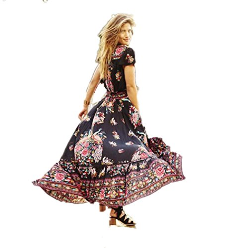 Price comparison product image Aurorax [Retro Dress] Women's Sexy Deep V Neck Backless Split Maxi Boho Dress Palace Print Floral Dress For Beach Holiday Evening Party (Black,  L)