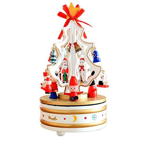 Music Box Santa Claus (ink2055 Christmas Tree Santa Claus Snowman Rotate Wood Music Box Xmas Gift Home Living Room Desk Decor - White)