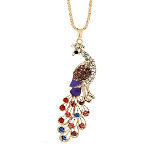 NYKKOLA Long Peacock Pendant Chain Necklace with Rhinestone Crystal- 18K Gold Plated Necklace,Lovely Gifts for Women Girls,Colorful