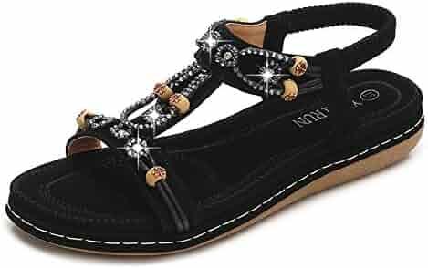 ab3ca69f0 CARETOO Women Flat Sandals, T Strap Summer Thong Shoes, Flip Flop Casual  Glitter Shoes