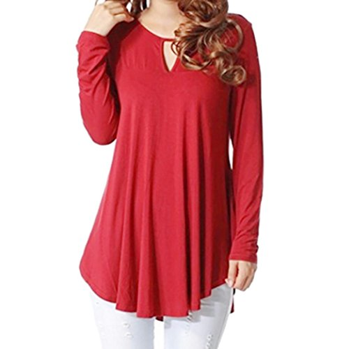 Clearance!Todaies Women Loose Blouse Casual Solid Long Sleeve O Neck Hollow Out Blouse Tops Shirts (XL, Red)