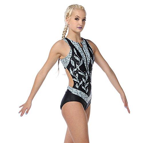 Alexandra Collection Womens Empress Zipper-Front Dance Costume Performance Leotard Black X-Large