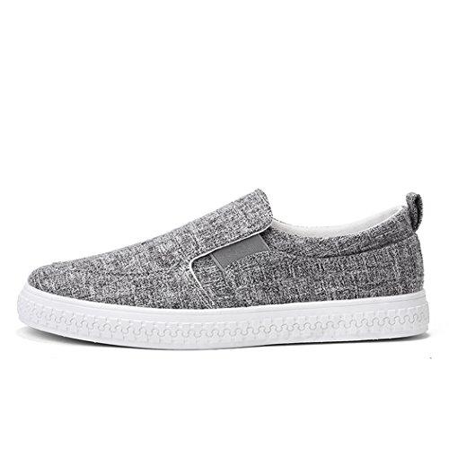 Zapatos Ligero Suave Plano Moda Respirable Hombre Antideslizante Zapatos Gris Ocio Cómodo de Oscuro Lino Verano SPEEDEVE qAxw85c