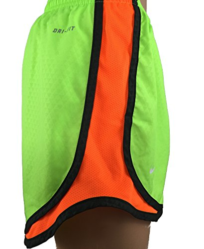 Damen Nike Dry Tempo Running Short Flash Lime / Holzkohle / Orange