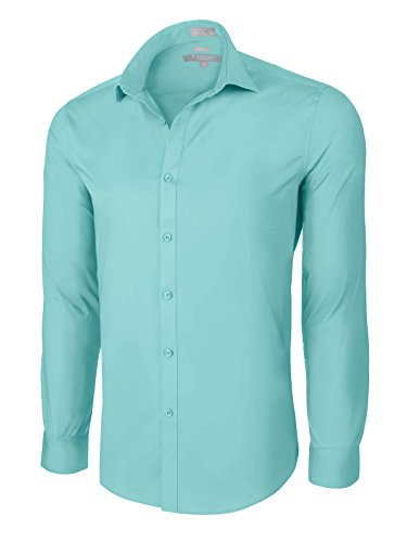 Platino de Marquis Slim Fit Cotton/Spandex Dress Shirt - Aqua Large (16-16.5) 34/35 (Aqua Stretch Dress)