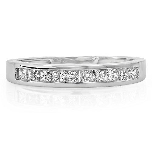 0.50 Carat (ctw) 14K Gold Princess White Diamond Wedding Stackable Ring Band 1/2 CT