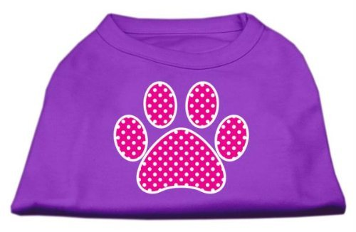 Mirage Pet Products Pink Swiss Dot Paw Screen Print Shirt, X-Small, Purple by Mirage Pet Products