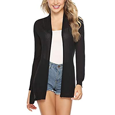 Abollria Womens Casual Long Sleeve Open Front Cardigan Sweater: Clothing