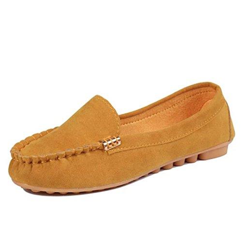 Ouneed® Bootsschuhe Mokassin Espadrilles Ballerinas,Damen Wohnungen Schuhe Slip on Komfort Schuhe Flache Schuhe Loafers Gelb