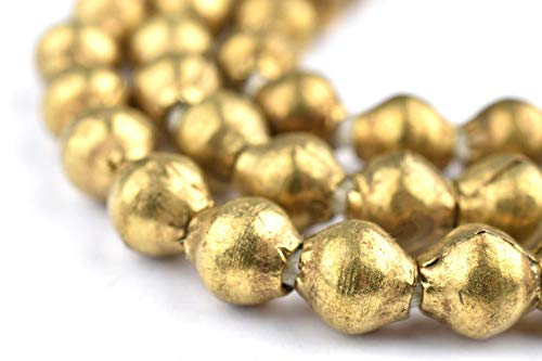 Brass Bicone Beads - Full Strand of Ethiopian Metal Beads - The Bead Chest (7mm, Brass)