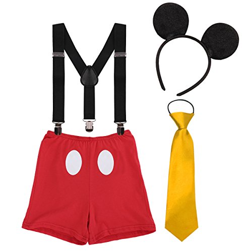 Mickey Mouse Outfit For Boys (Baby Boy Mouse Cake Smash First Birthday Bloomers Suspenders Necktie Ear Headband Clothes Outfits Photography Props)