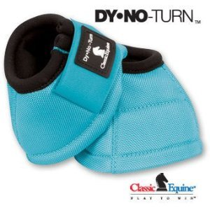 - CLASSIC Equine No Turn DL Bell Boots LARGE TURQUOISE Horse Dy No Boot
