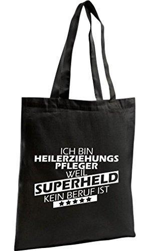 Shirtstown Shopping Bag Organic Zen, Shopper Ich bin Heilerziehungspfleger, weil Superheld kein Beruf ist, schwarz