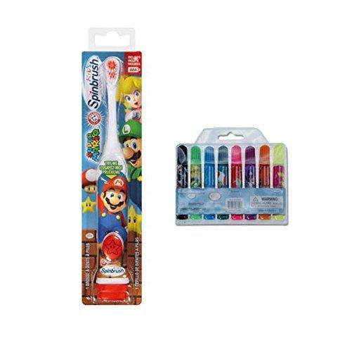 Ready...Set...Brush! Nintendo Super Mario Brothers Spin Powered Toothbrush! Plus Bonus Mario 8pk Mini Marker Collection!