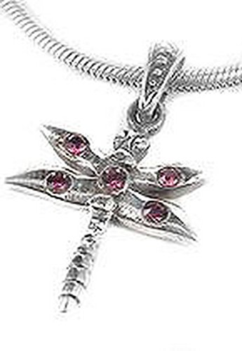 Jacob AleX #17688 Small Red Crystal Dragonfly Sterling Silver Charm Pendant AMZ only