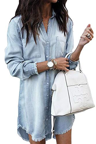 Women Denim Shirt Dresses Long Sleeve Distressed Jean Dress Button Down Casual Tunic Top Lightblue XL