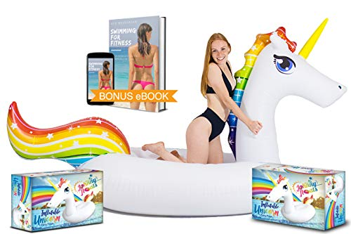Unicorn Pool Float by Johnny Floats - Giant Pool Float Is Awesome for Parties & Games - With Rapid Valves - Lounge on the Beach Lake or Ocean - Rideable - Swimming Pool Party Raft Toys For Kids Adults