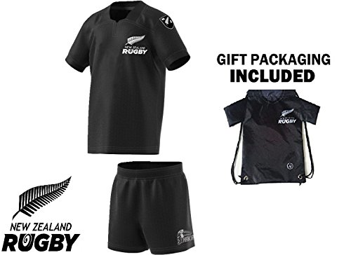 Fan Kitbag New Zealand Kids Youth Rugby Jersey and Shorts ✓ Bonus Rugby Jersey Backpack (YXL 12-14 yrs, Home Short Sleeve)
