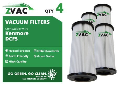 4 Kenmore DCF-5 HEPA Filter Generic Part By ZVac. Replaces Part Numbers 216.37000 DCF5, 240, F240. Fits: K37000 Quick Clean Bagless Upright Vacuums and Sears using DCF5 Filter (Quick Upright Vacuum)