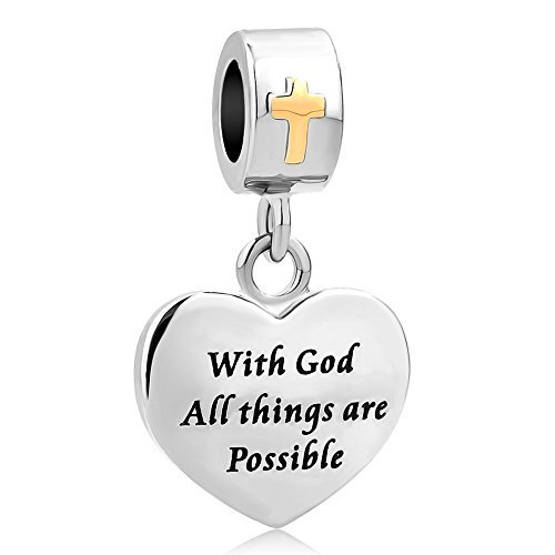 (Charmed Craft Heart Religious Cross Charms With God All things are Possible Beads for Bracelets (with god all things are possible))