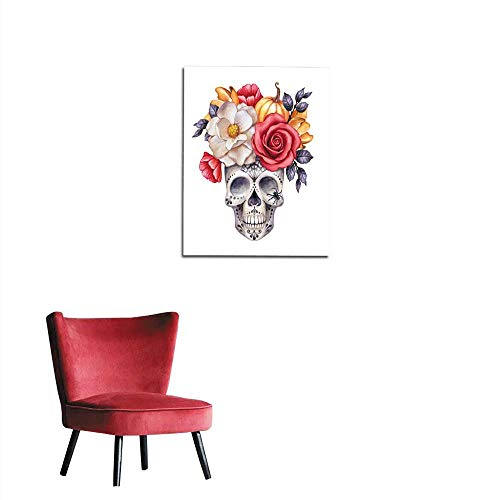 (longbuyer Mural Decoration Watercolor Illustration Halloween Floral Skull Fall Flowers Autumn Pumpkin Dia de Los Muertos Festive Clip Art Isolated on White Background Mural)