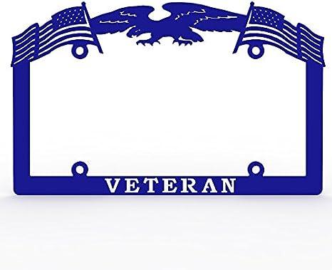 Ferreus Industries Gray Powdercoat Car Truck License Plate Frame Veteran Eagle American Flag Veteran 1 Piece LIC-144-Gray