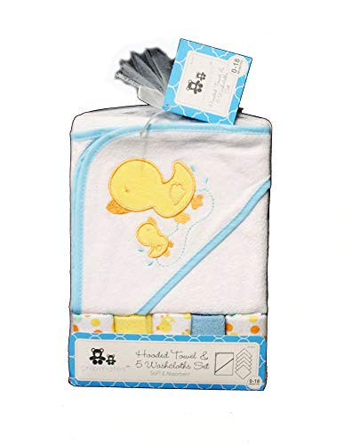 Hooded Towel and 5 Washcloths Bath Set - White Duck Polka Dots Baby Shower Gift (Blue)