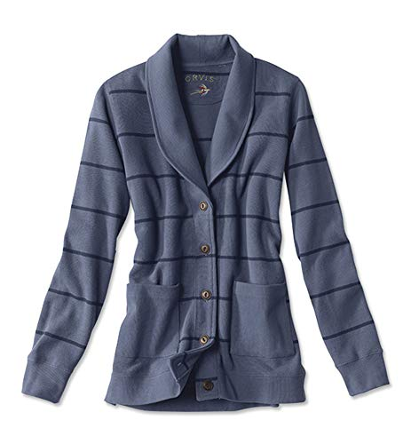 Orvis Women's Signature Softest Shawl-Collar Striped Cardigan, Medium Blue