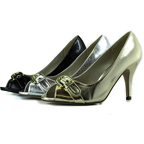 Womens Blossom Collection Eko-13 Peep Toe Pumps Fashion Shoes Black lmlzg