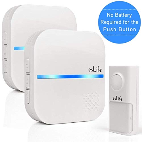 No Battery Required Wireless Doorbell, 1 Push Button(Self-Generating Power) with 2...