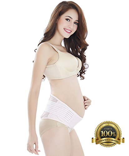 #1 Best Rated Maternity Belt - Babo Care Breathable Abdominal Binder - Back and Pelvic Support - Comfortable Belly Band for Pregnancy - Prenatal Cradle for Baby - One Size,Pink (Pregnant Belly)