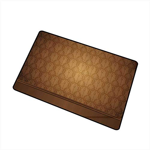 (Door mat Tan Antique Motifs with Damask Flowers Victorian Ancient Elements Royal Aged Vintage Art W16 xL20 Quick and Easy to Clean Brown Tan)