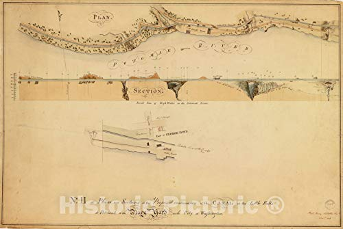 (Historic 1802 Map | Plans and Sections of The Proposed Continuation of The Washington Canal | No. II, Washington Canal at Little Falls of The Potomac to The Navy Yard, 1803 44in x 30in)