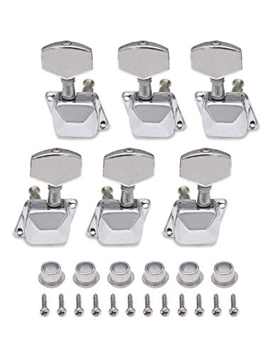 Metallor Semiclosed String Tuning Pegs Machine Heads Tuners 3L 3R Electric Acoustic Guitar parts Replacement Set of 6Pcs Chrome. (3L+3R) ()