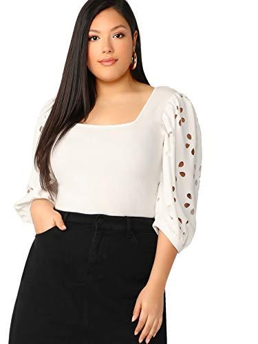 - Romwe Women's Plus Slim Fit Elegant Square Neck Laser Cut Lantern Puff Sleeve Blouse Tops #White 0X